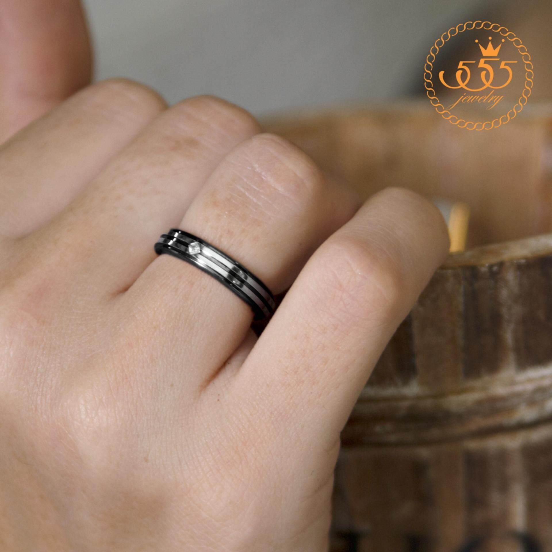 555jewelry แหวน รุ่น MNR-049T-D  (สี Black)(Black Cubic Zirconia ) แหวนคู่รัก แหวนคู่ แหวนผู้ชายเท่ๆ แหวนแฟชั่นชาย แหวนผู้ชาย แหวนของผู้ชาย