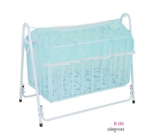 Tsh เปลเด็ก เปลไกว เตียงเด็กอ่อน เปลเด็กอ่อน เปลลูกกรง เตียงเด็กอ่อน รุ่น B101 สำหรับเด็กทารกแรกเกิด ถึง 2.5 ขวบ แถมฟรี มุ้งกันยุง พร้อมที่นอน ในกล่อง By Tsh Furniture.