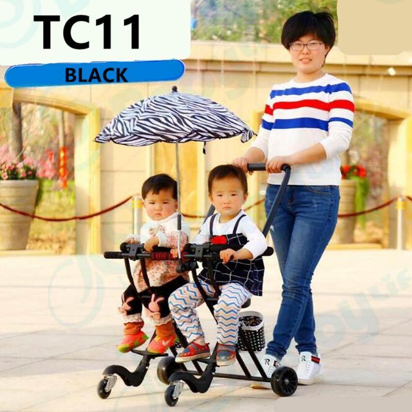 Baby Life รถเข็นเด็กแฝด แบบ3ล้อเข็นคู่ เบาะนิ่ม มีไฟที่ล้อ เข็นง่ายพับเก็บง่าย ไม่ยุ่งยากน้ำหนักเบา รับน้ำหนักได้ 70 Kg รุ่น:tc11.