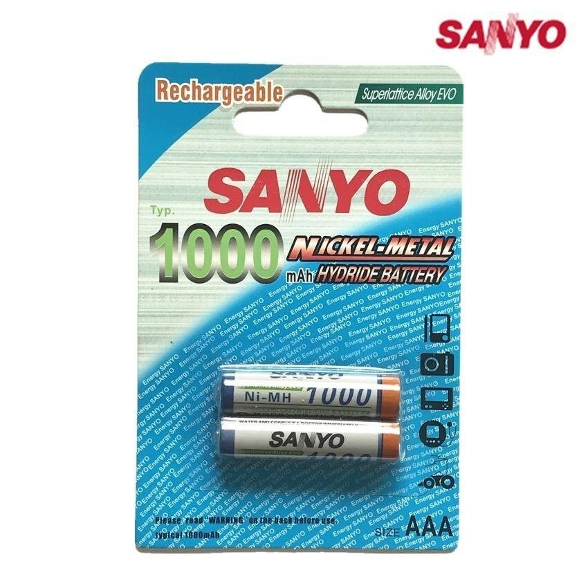 Sanyo ถ่านชาร์จ AAA 1000 mAh NIMH Rechargeable Battery 2 ก้อน