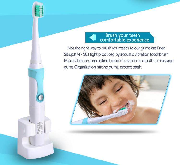 แปรงสีฟันไฟฟ้า ทำความสะอาดทุกซี่ฟันอย่างหมดจด ลพบุรี Simple home Kemei KM 907 แปรงสีฟันไฟฟ้า รุ่น  อัลตร้าโซนิคกันน้ำแบบชาร์จไฟแปรงสีฟันไฟฟ้า 3 หัวแปรงสีฟันสำหรับเด็กผู้ใหญ่ kemei electric toothbrush