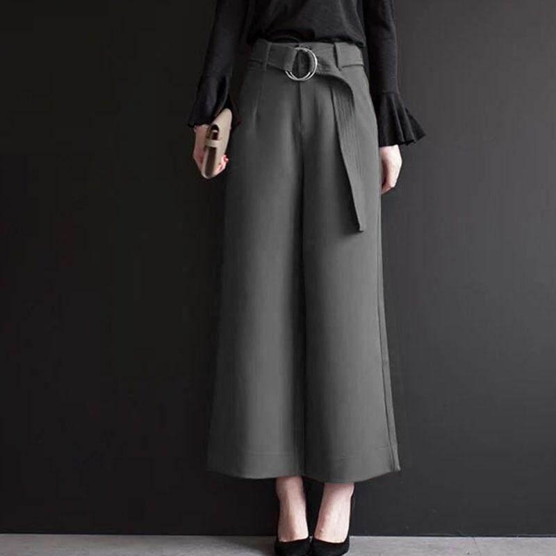 【จำกัด เวลาพิเศษ!!】กางเกงขากว้างผู้หญิงฤดูใบไม้ผลิและฤดูใบไม้ร่วงใหม่เกาหลีรุ่นเอวสูงหลวมขนาดใหญ่ขนาดลำลองสีดำกางเกง - นานาชาติ.