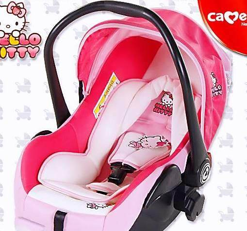 คาร์ซีทเด็ก แบบกระเช้าลาย Hello Kitty สีชมพูสดใส แบนด์CAMERA ระบบล็อค 3 จุด  ปรับสายรัดได้ 2ช่อง พร้อมรับประกันสินค้าจากบริษัท 3ปีเต็ม ของถูก