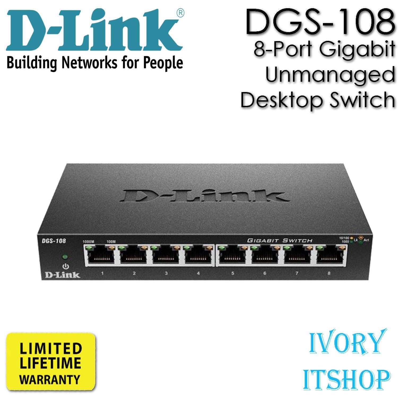 สุดยอดสินค้า!! D-Link DGS-108 8-Port Gigabit Unmanaged Desktop Switch ขนส่งโดย Kerry Expess