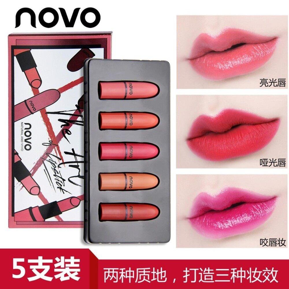 ขาย เซ็ทลิป 5 สี Novo The Art Of Lipstick Novo Natural And Vivid ลิปสุดเริ่ดสีแรง Novo Lipstick สไตล์เกาหลี สีสวยมาก ติดทนทั้งวัน เนื้อแมท Novo ออนไลน์
