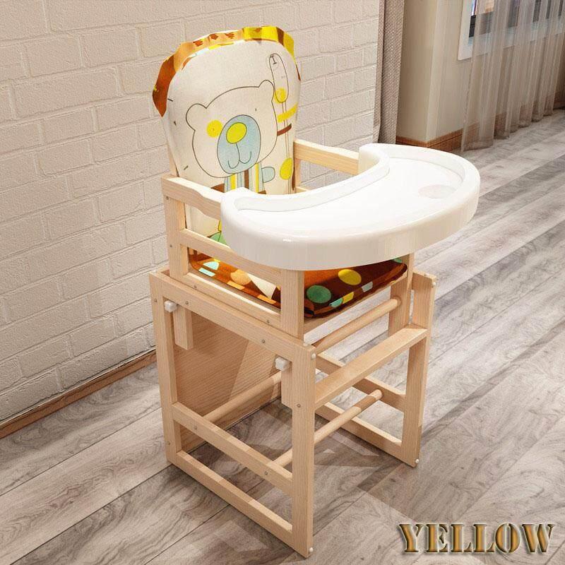 Baby High Chair เก้าอี้ทานข้าวทรงสูง ปรับระดับได้ 4in1 -สีเหลือง By Top 10.