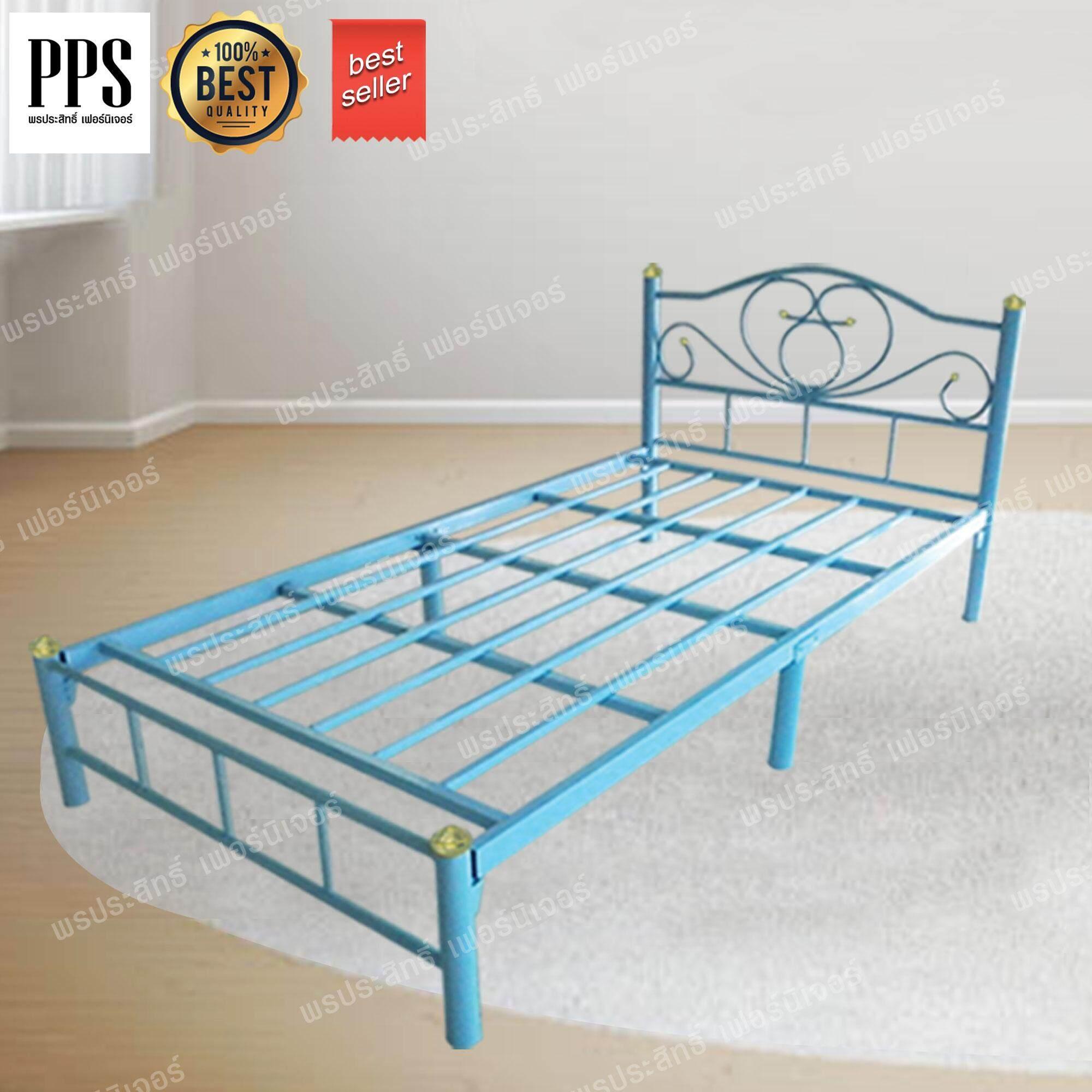 Asia เตียงเหล็ก3.5ฟุต ขา2นิ้ว รุ่นโลตัส (สีฟ้า).