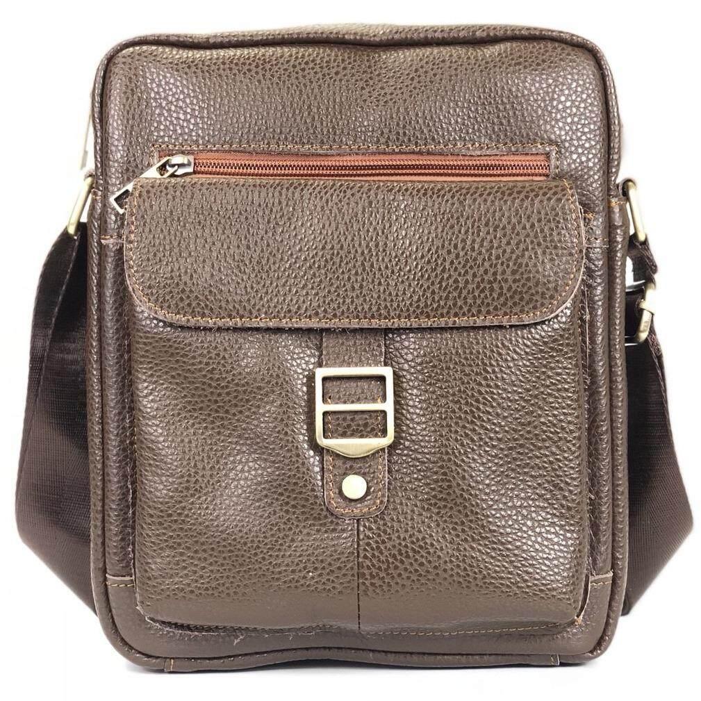 Chinatown Leather กระเป๋าสะพายหนังแท้ ขนาด Ipad สีน้ำตาล ถูก