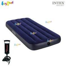 Intex ส่งฟรี ที่นอนเป่าลม แค้มป์ แคมป์ปิ้ง ปิคนิค 2.5 ฟุต (จูเนียร์ ทวิน) 0.76x1.91x0.22 ม. รุ่น 68950 + ที่สูบลมดับเบิ้ลควิ๊ก วัน