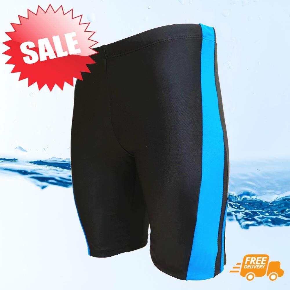 กางเกงว่ายน้ำชาย ขา 3 ส่วน สีดำมีแถบสีฟ้า เชือกรูดด้านใน สวมใส่กระชับ Size L, Xl, Xxl,xxxl รุ่น M301.