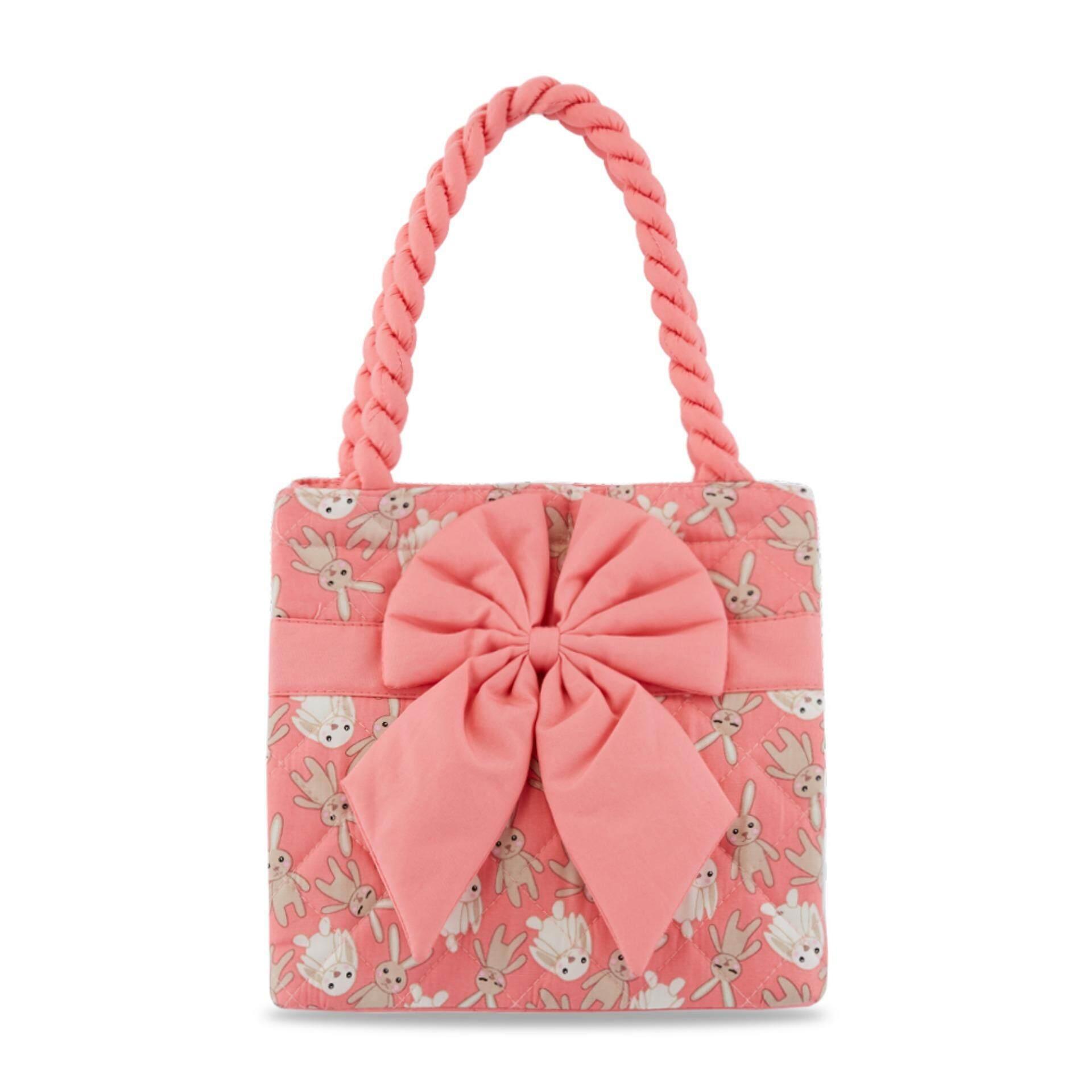 กระเป๋าถือทรงสี่เหลี่ยม NaRaYa Bunny Printed Quilted with Ribbon