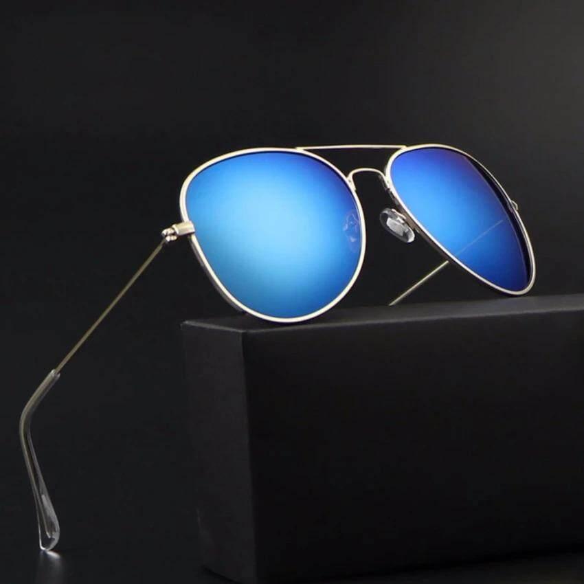 ซื้อ Brand Dunnแก้วเลนส์แว่นตากันแดดนักบินคลาสสิกผู้หญิงผู้ชายแว่นตา 3025 Black Frame Silver Mirror Lense Intl ถูก จีน