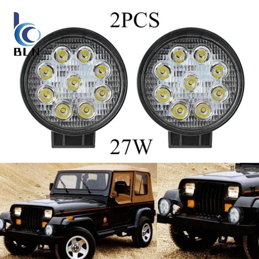 【Bln Auto】2Pcs 27W Led Work Light Round Lamp Atv Suv Off Road Car Boat Truck 12V 24V Spotlight เป็นต้นฉบับ