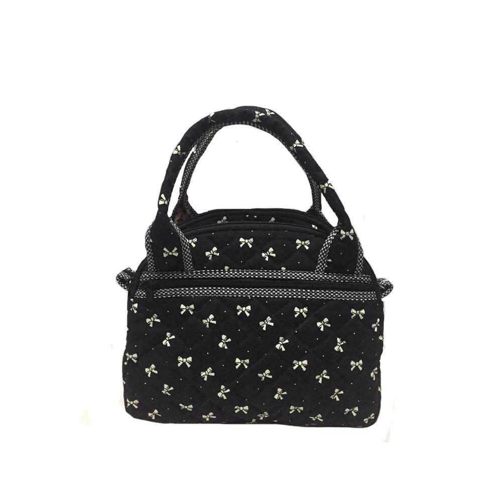 ซื้อ กระเป๋าถือ ขนาด L มีสายสะพาย ผ้าแคนวาสสีดำ Puean ถูก