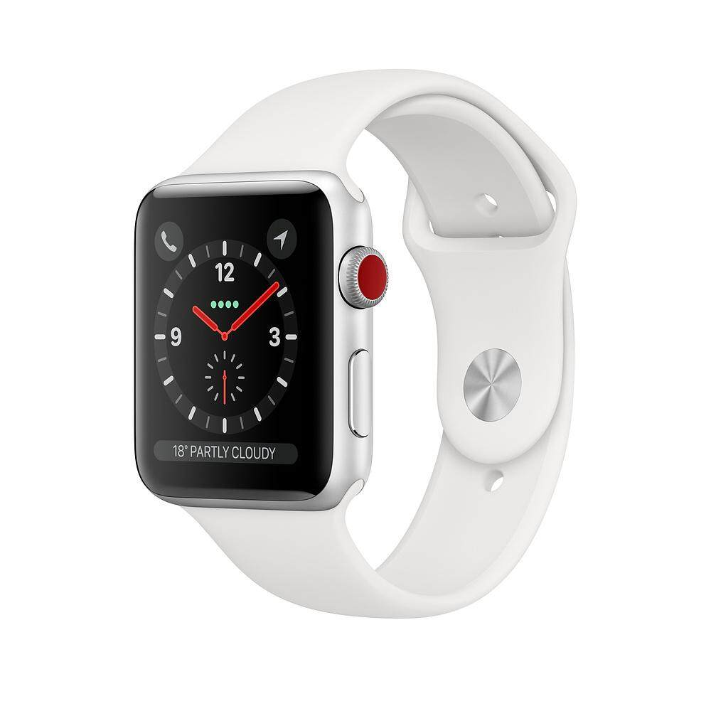 Apple Watch Series 3 Gps+cellular, 38mm Silver Aluminium Case With White Sport Band.