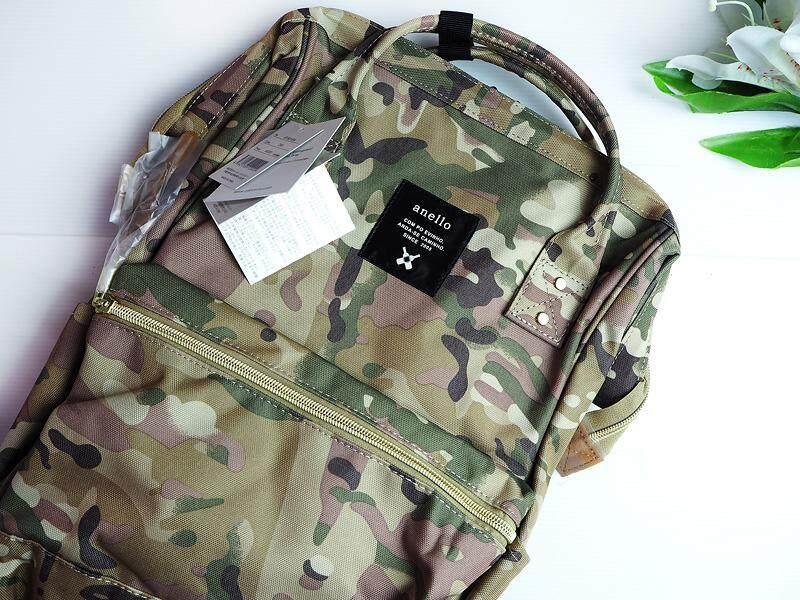 สอนใช้งาน  เชียงใหม่ กระเป๋าเป้สะพายหลัง Anello Lotte Camo Khaki (Classic Size) - Japan Imported 100%