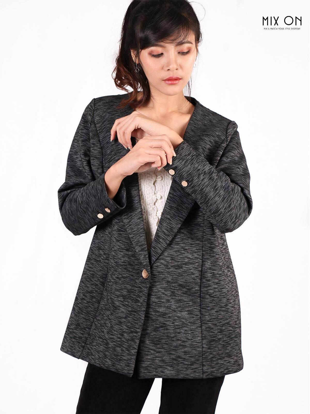 สุดยอดสินค้า!! (ส่งฟรี Kerry) Mixon ชุดทำงาน เสื้อสูททำงาน ทรงสุภาพ Vanesa Single Button Suit