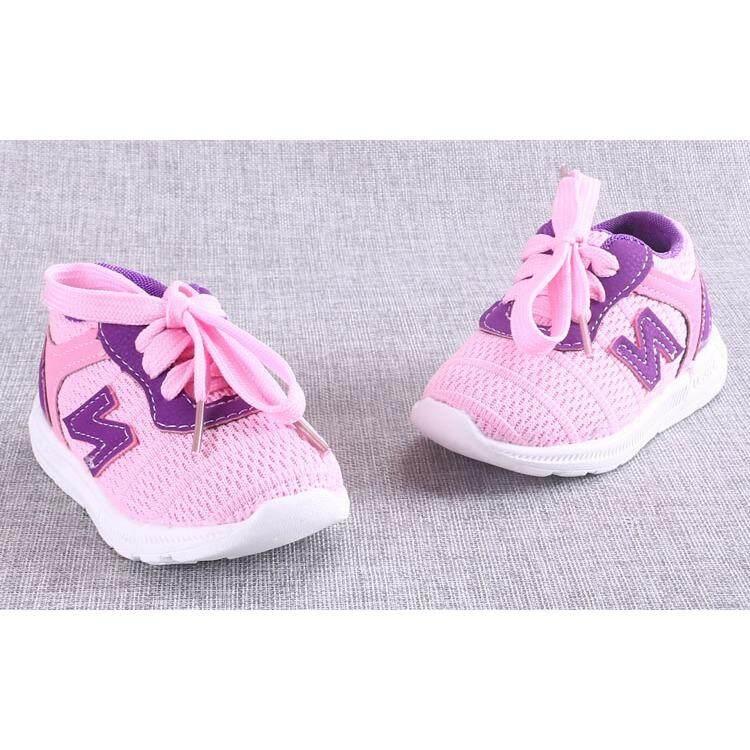 ราคา Cb รองเท้าเด็กพื้นผ้า รองเท้าเด็กเล็ก รองเท้าผ้าใบเด็ก รองเท้าเด็กหัดเดิน สีชมพู รุ่น 1712 ถูก