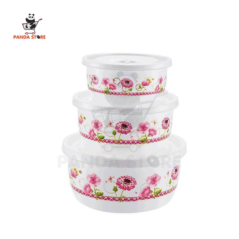 กล่องอาหารพลาสติก+ฝาปิดลายดอกไม้สีชมพู 3 ใบ/ชุด By Best World Shopping.