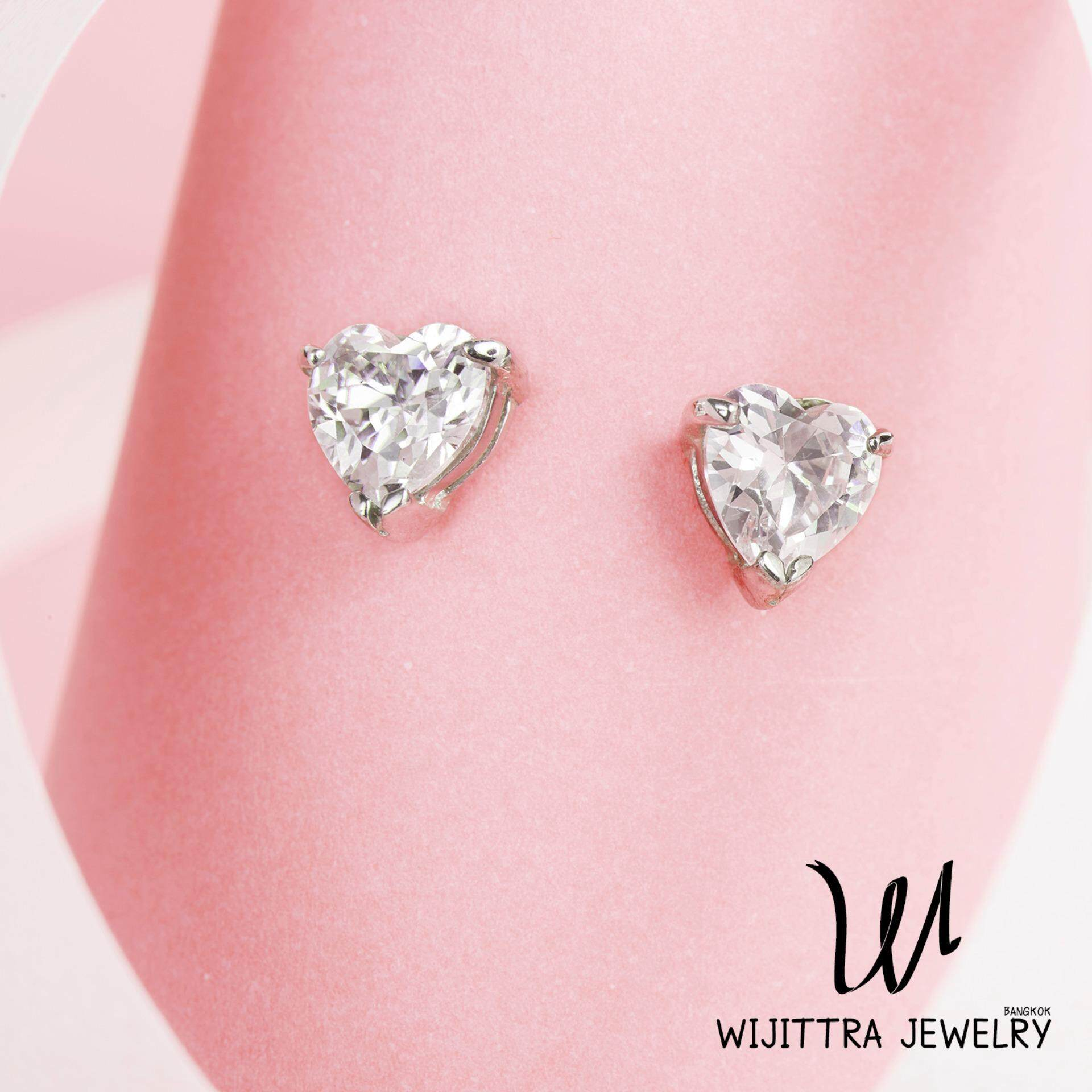 ราคา Venus Earrings Wijittra Jewelry ต่างหูเงินแท้ 925 ชุบโรเดียม เพชรสวิส Cubic Zirconia พร้อมกล่องเครื่องประดับ High End เป็นต้นฉบับ Wijittra Jewelry