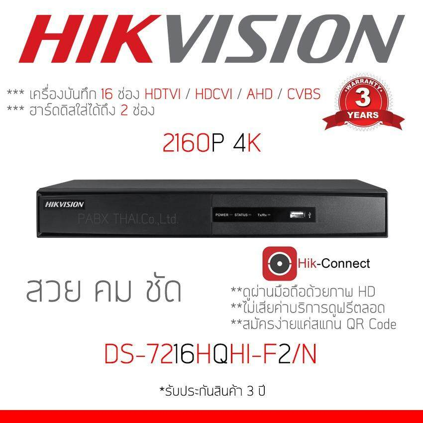 Hikvision DVR 16Ch DS-7216HQHI-F2/N รองรับกล้อง AHD , HDTVI , Analog และ IP camera