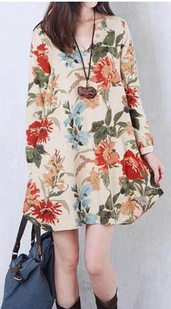 ชุดเดรสแฟชั่น แขนยาว ลายดอก สวยๆ เนื้อผ้าใส่สบาย By Mmtshop142.