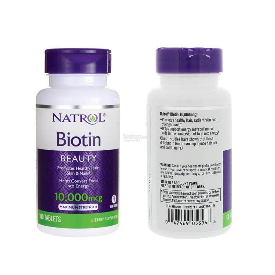 ไบโอตินเข้มข้น Biotin Natrol10,000mcg(100เม็ด)แก้ปัญหาผมร่วง ผมหงอก By Chu Shop.
