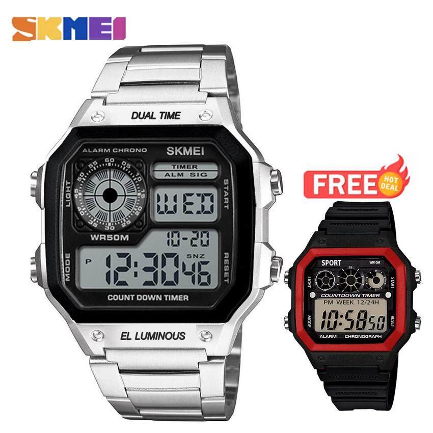 Skmei ของแท้ 100% ส่งในไทยไวแน่นอน แพ็คคู่นาฬิกาข้อมือ สไตล์ Casual Bussiness Watch จับเวลา ตั้งปลุกได้ ไฟ Led ส่องสว่าง สายแสตนเลส สีเงินรุ่น Sk-M1335 จับคู่กับ นาฬิกาข้อมือ Zd-0155 .