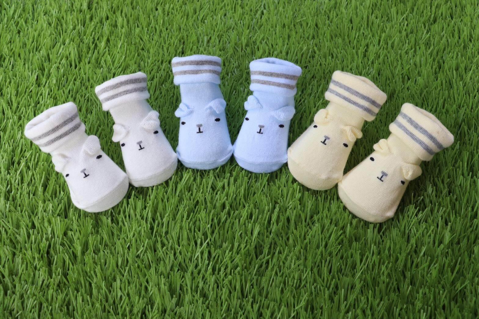 รายละเอียดสินค้า ถุงเท้า ถุงเท้าเด็ก ถุงเท้าเด็กทารก ถุงเท้ากันลื่น ถุงเท้า 0-6เดือน (แพ็ค3คู่) คละสี