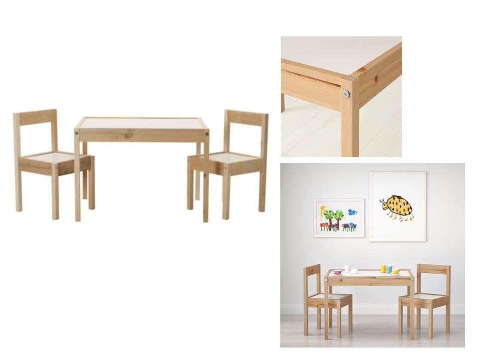 เล็ทท์ เซ็ทโต๊ะเด็กและเก้าอี้ 2 ตัว สีน้ำตาลอ่อน ไม้สน (childrens Table With 2 Chairs, White, Pine) By Ladylazada.