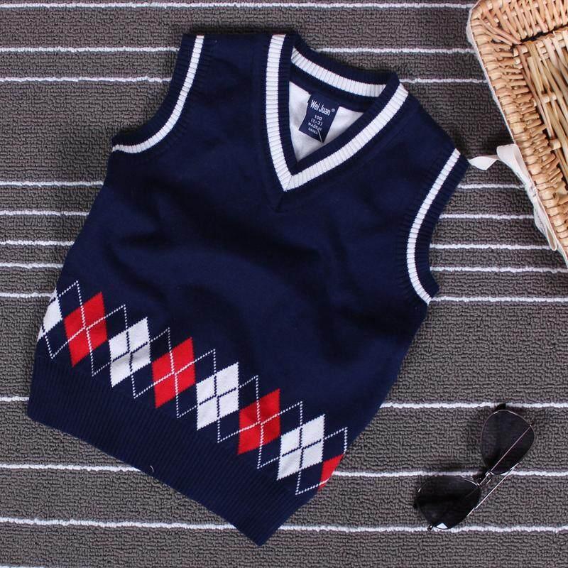 เสื้อกันหนาวเด็กชายเสื้อกั๊ก 2019 ฤดูใบไม้ผลิและฤดูใบไม้ร่วงใหม่ Petpet 1 เด็กฝ้าย100% สองชั้น 2 เสื้อไหมพรมเสื้อกั๊ก 3-5 ปี 6