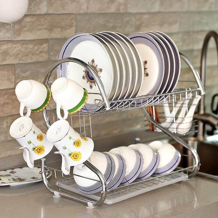 Best Hs ชั้นคว่ำจานสแตนเลสอเนกประสงค์ 2 ชั้น 2 Tiers S Shape Dish Cup Drying Rack (silver) By Love Star.