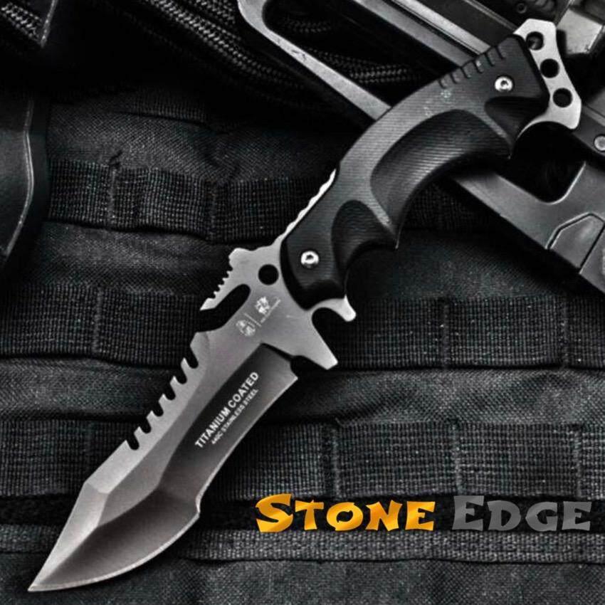 Genuine Scorpion มีดพก มีดเดินป่า 440C Titanium Coated รุ่น S W A T พร้อมที่ใส่มีดแบบคาดเอว ถูก