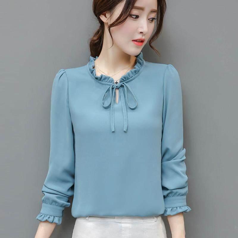 2019 คอลเลคชั่นฤดูใบไม่ผลิใหม่สไตล์เกาหลีความนุ่มนวลโบว์ซีฟองเสื้อเชิ้ตเสื้อผ้าหญิงแขนเสื้อยาวเสื้อเชิ้ตสีขาวซับในเสื้อ By Taobao Collection.