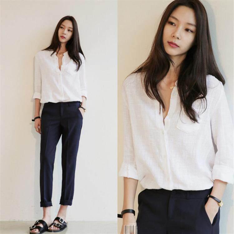 เสื้อเชิ้ตสีขาวแฟชั่น เสื้อเชิ้ตสีขาวแขนยาวผู้หญิง เสื้อเชิ้ตสีขาวผู้หญิงเท่ๆ เสื้อเชิ้ตสีขาวผู้หญิง.