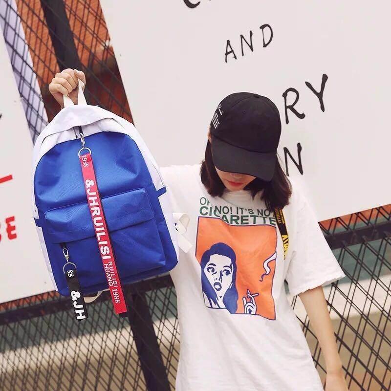 Baobao Shopกระเป๋า กระเป๋าเป้ กระเป๋าสะพายหลัง Backpack No 18075 สีน้ำเงิน เป็นต้นฉบับ