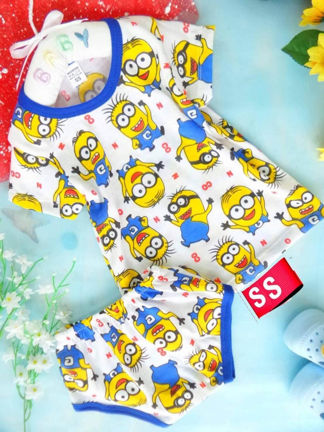 ชุดเด็กน้อย อายุ 2-9เดือน SS อก22 นิ้ว ผ้าคอตตอนนิ่มสีสด ไม่ระคายเคืองผิว (ทางร้านจัดคละสีคละลายให้)