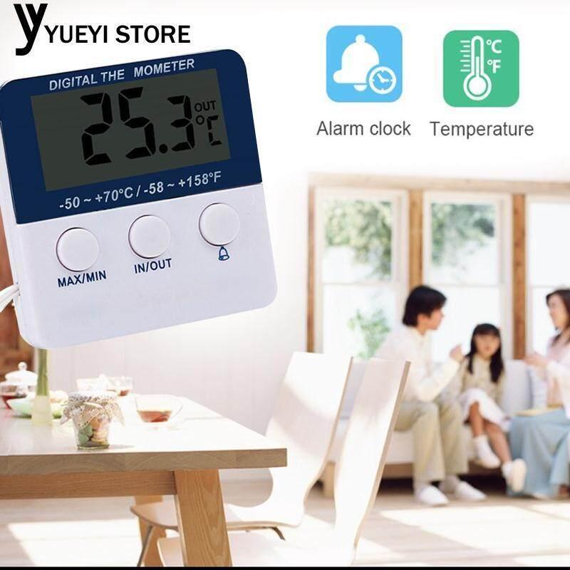 Yysl อิเล็กทรอนิกส์เทอร์โมมิเตอร์เครื่องวัดอุณหภูมินาฬิกาปลุกหน้าจอ Lcd สีขาวกลางแจ้ง.