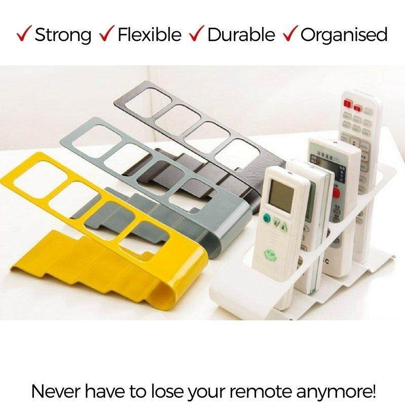 Tv Remote Control ที่เก็บรีโมท ชั้นวางรีโมท ปรับระดับได้ วัสดุ ทำจากเหล็กพ่น ทำให้แข้งแรงต่อการใช้งาน และ ทนทาน (สีเหลือง เทา ดำ ขาว ) คละสี (1ชิ้น) By Health-Pro.