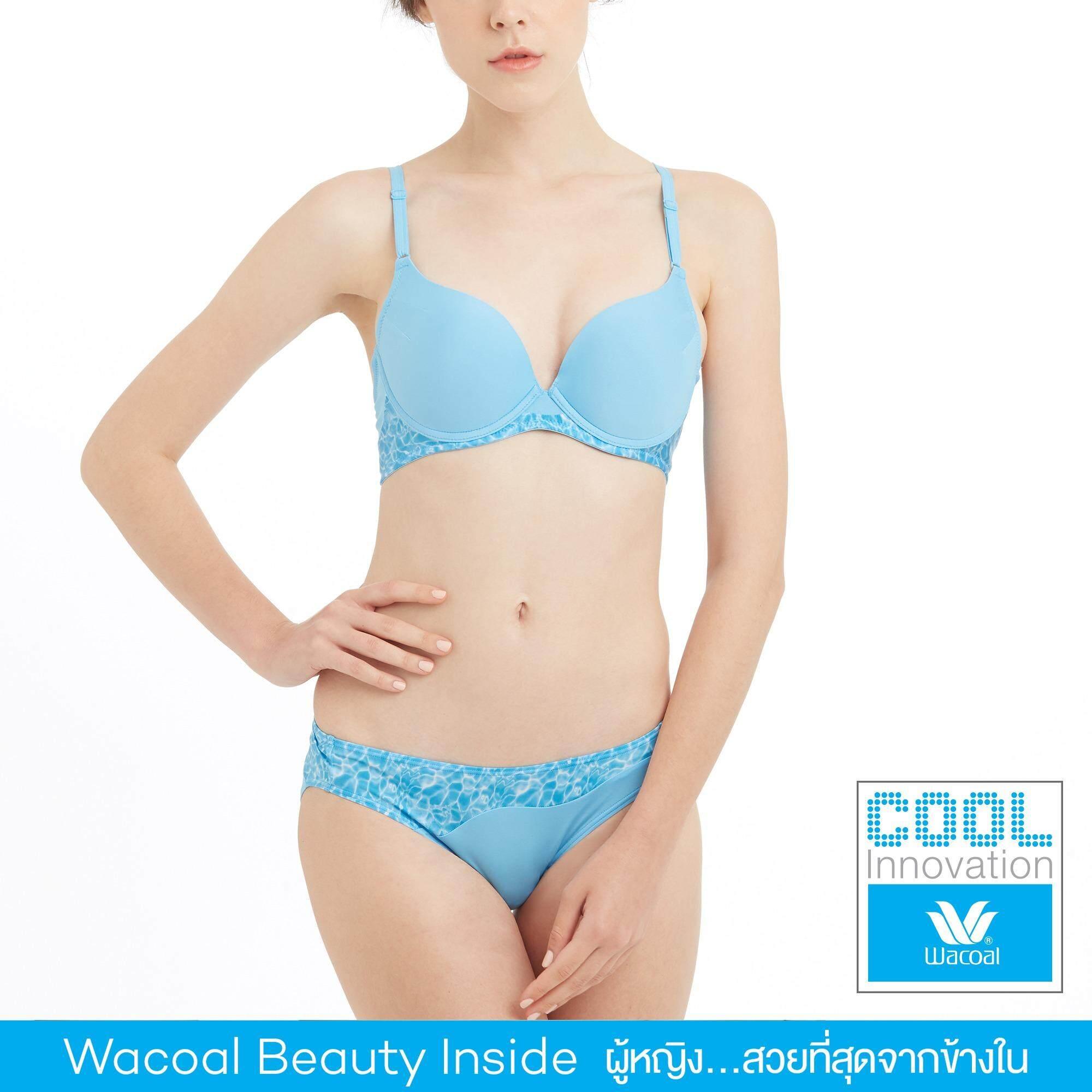 Wacoal Cool innovation เซ็ทชุดชั้นในกางเกงชั้นใน Push up Bra 3/4 Cup (สีฟ้า/SAX) - WB3K22SX-W63K22SX