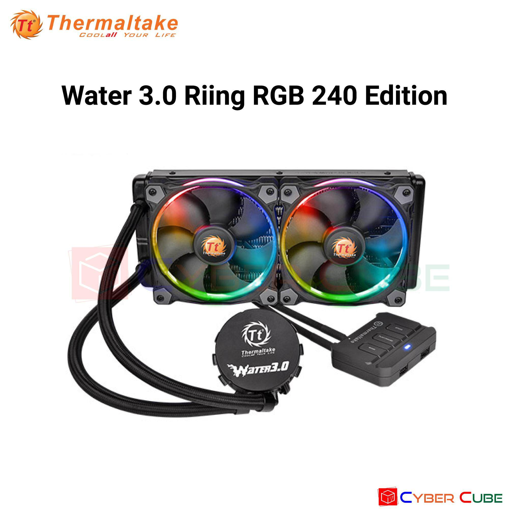 Thermaltake Water 3.0 Riing Rgb 240 (อุปกรณ์ประกอบชุดน้ำ) Cpu Liquid Cooler By Cybercube.