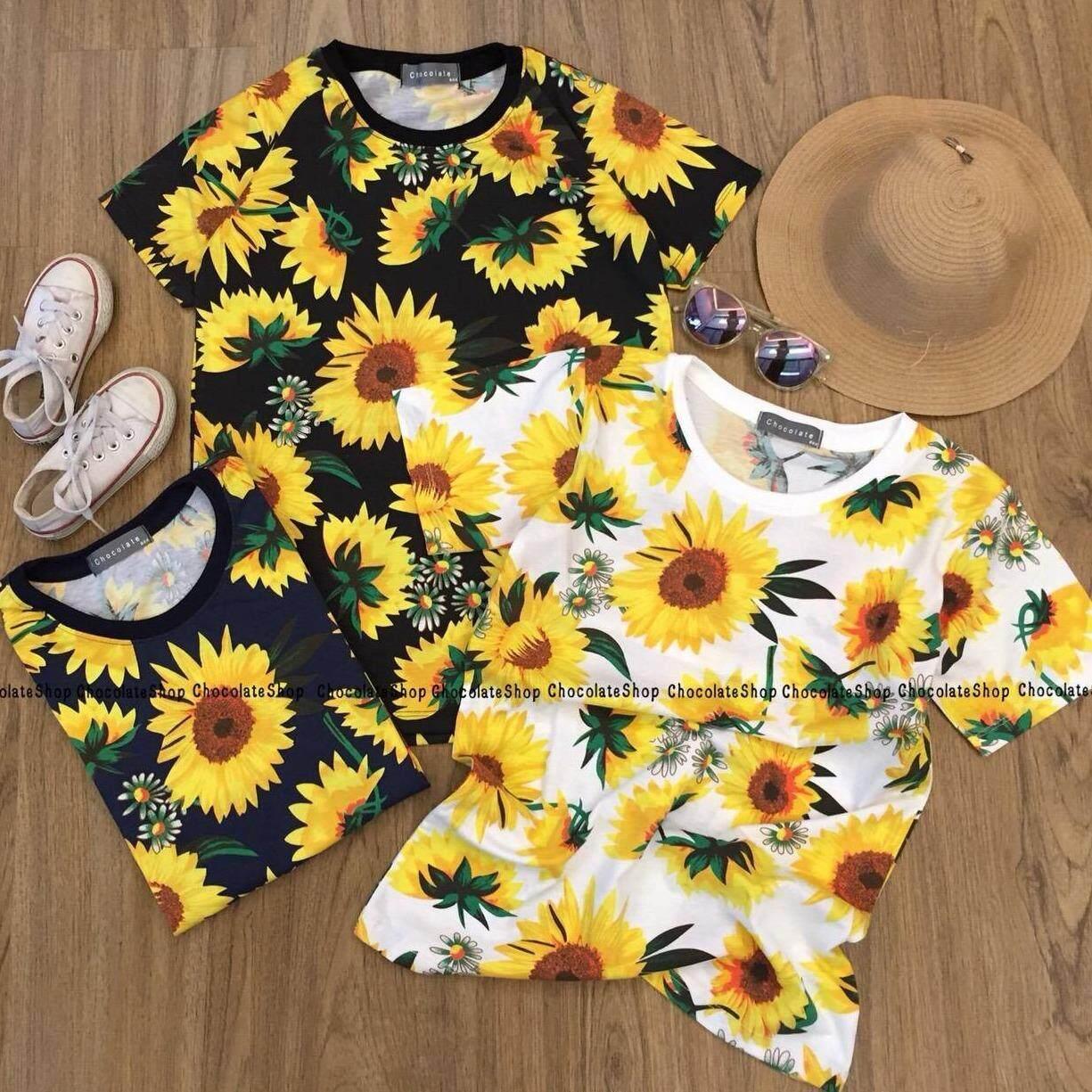 T0020 เสื้อยืดผ้า คอลตอล100% พิมมลายดอกทานตะวัน ลายทั้งตัว หน้า หลัง แขน ลายดอกสวยๆ มี 3 สี ขาว กรม ดำ ส่งฟรีKerry