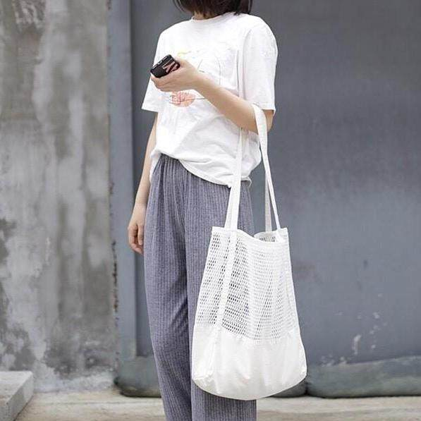 กระเป๋าเป้ นักเรียน ผู้หญิง วัยรุ่น อุตรดิตถ์ Zigzagg กระเป๋าสะพายข้าง ใบใหญ่ Net Bag กระเป๋าผ้าเกาหลี
