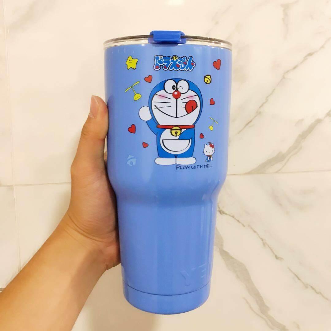 YETI แก้วน้ำ Yeti Rambler 30 Oz สีด้านขอบเงิน แก้วเก็บความเย็น ถ้วย สแตนเลส Yeti Rambler Doraemon