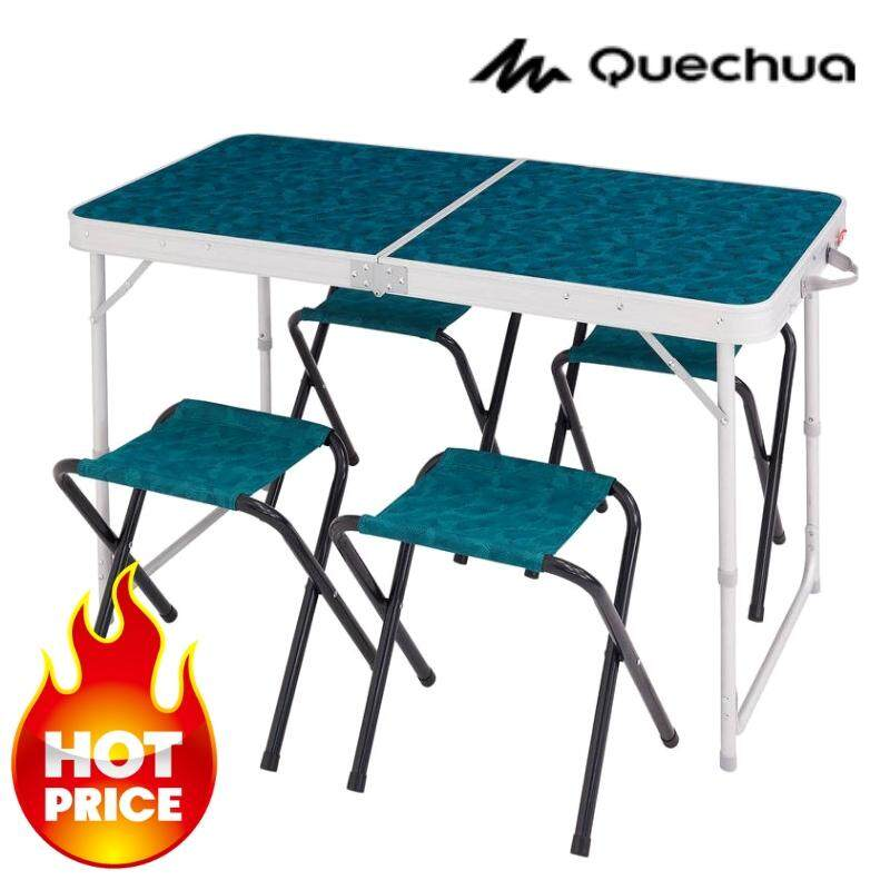 โต๊ะตั้งแคมป์ โต๊ะสนามพับได้ สำหรับ 4 คน Quechua เหมาะสำหรับชาวแคมป์ 4 คน สะดวกสบาย โต๊ะพร้อมเก้าอี้ครบชุด เรียบง่าย ปลอดภัย สูง 70 ซม. พื้นโต๊ะขนาด 120 X 60 ซม. By Tk Mall.