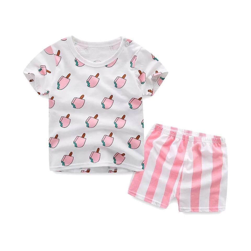 ❤️sale! เด็ก ชุดนอน  เซต 2 ชิ้น เสื้อ+กางเกงขาสั้น ไซส์ 80—110cm / 2-3ปีใส่สบายเนื้อผ้า Cotton .
