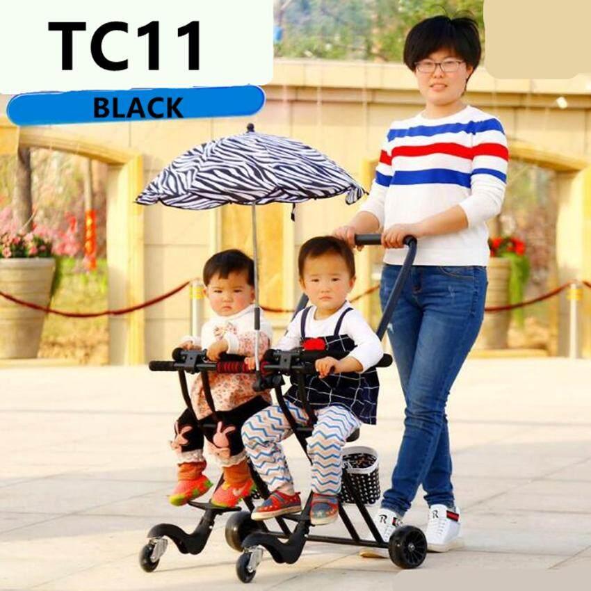 Baby Style รถเข็นเด็กแฝด แบบ3ล้อเข็นคู่, เบาะนิ่ม มีไฟที่ล้อ เข็นง่ายพับเก็บง่าย ไม่ยุ่งยากน้ำหนักเบา รับน้ำหนักได้ 70 Kg รุ่น:tc11.