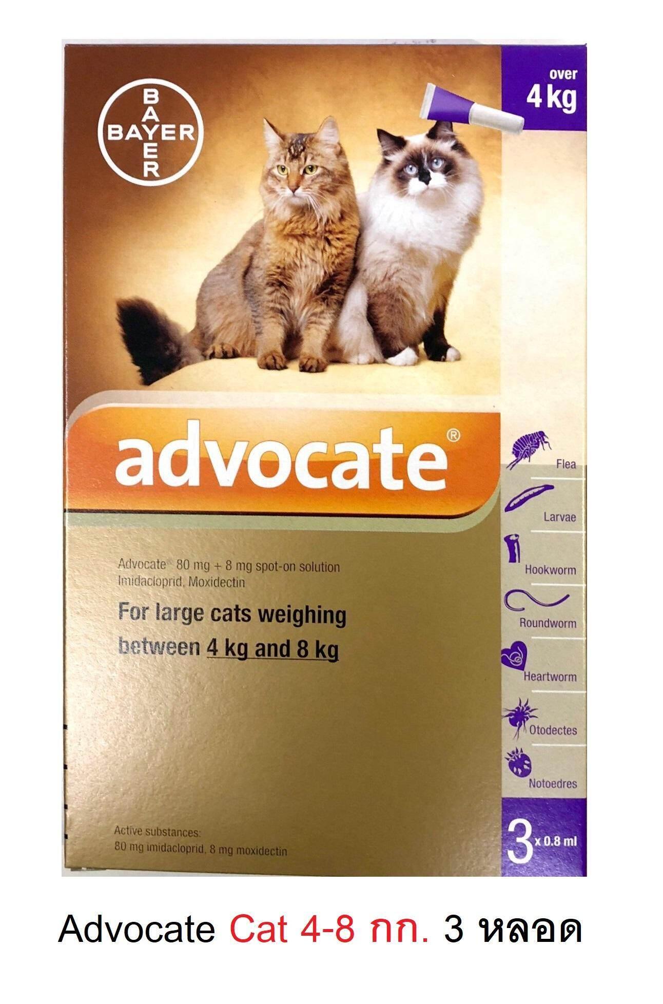 Bayer Advocate Cat 4-8 Kg ( 3 Tube ) แอทโวเคท สำหรับแมว น้ำหนัก 4-8 กก. ยาป้องกันเห็บ หมัด ไรในหู พยาธิหัวใจ ( 3 หลอด ) By Speedpets.