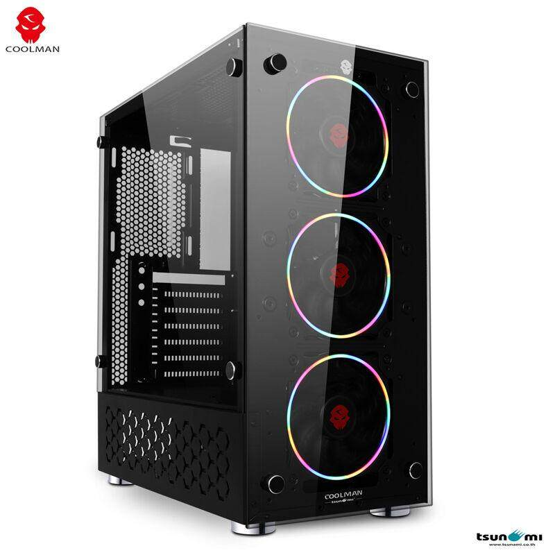 Tsunami Coolman Neon Series N9 Gaming Case With Rainbow Light (atx/usb3.0) (with Tempered Glass) Black By Jura.