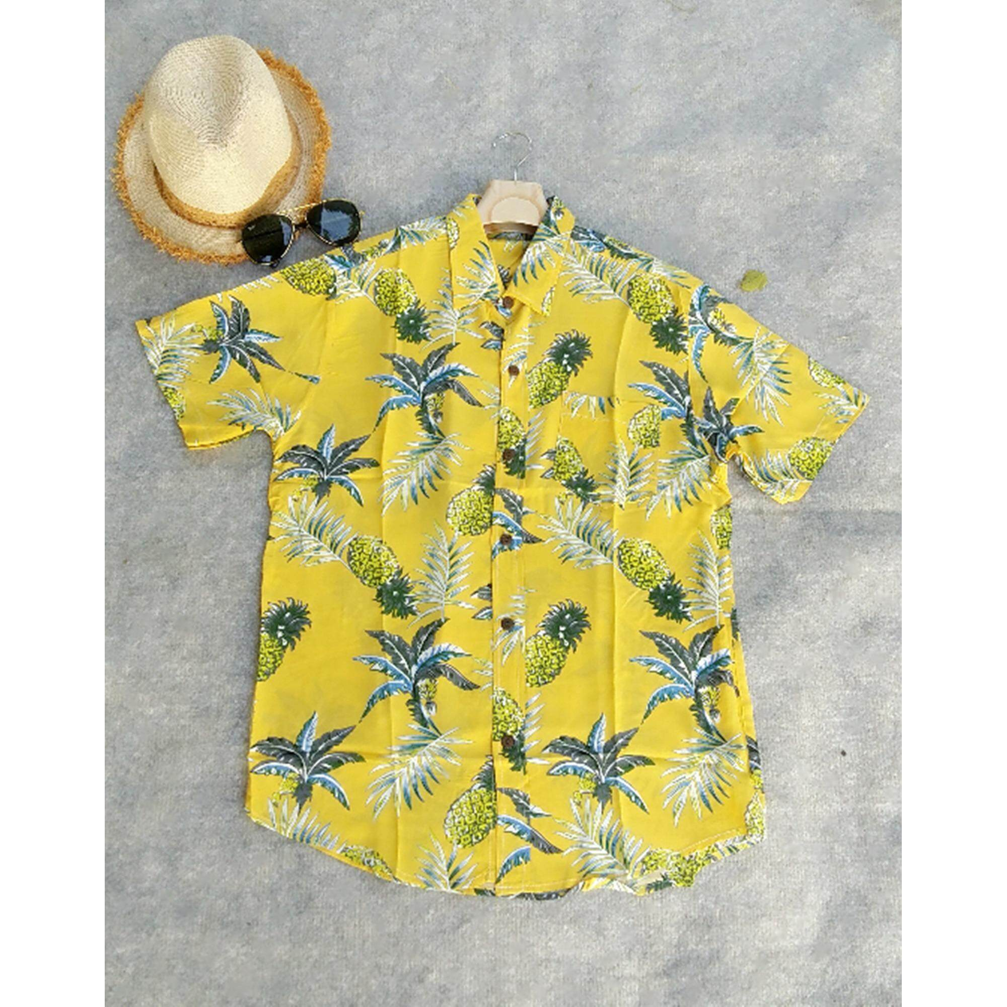 ขาย ซื้อ ออนไลน์ Mama Shop เสื้อเซิ้ตฮาวาย พิมพ์ลายดอกสับปะรด พื้นสีเหลือง คอปก ไซส์ M ผ้านิ่มใส่สบาย รุ่น Mb 113
